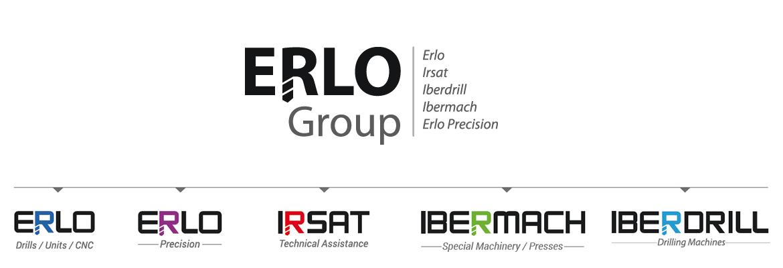 Organigrama del grupo empresarial Erlo group compuesto por: Erlo, Erlo Precisión, IRSAT, Ibermach e Iberdrill