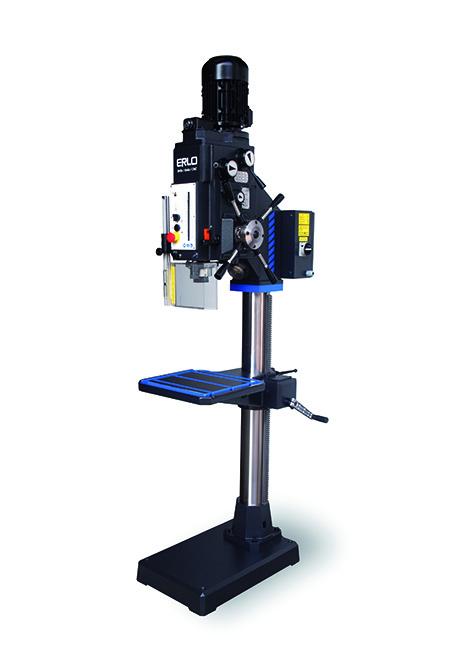 Taladro de columna redonda con avance automático, embrague electromagnético, transmisión por engranes y variador electrónico de velocidad Serie TSE 32, 35, 40, 45mm de taladrado fabricado por ERLO