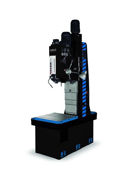 Prismatic column drill with automatic feed, electromagnetic clutch, and cog transmission Series TCA/BV, 50 and 70mm drilling, manufactured by ERLO