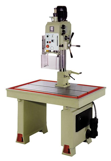 Taladro y roscadora de mesa fija con avance automático de taladrado, roscado automático por patrón husillo, transmisión por engranes Serie MSHEA/MSHEAR fabricado por ERLO