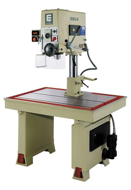 Taladro y roscadora de mesa fija con avance manual, transmisión por variador electrónico Serie MSV/MSVR fabricado por ERLO