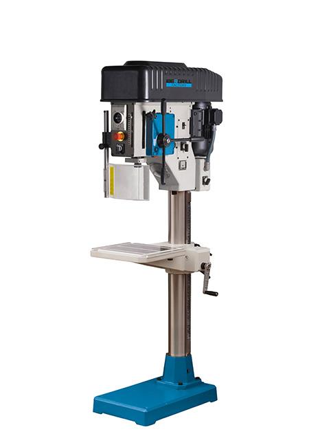 Taladro y roscadora de columna redonda con avance manual y transmisión mecánica por variador de poleas cónicas Factory Iberdrill IZ 40 fabricado por el Grupo Erlo
