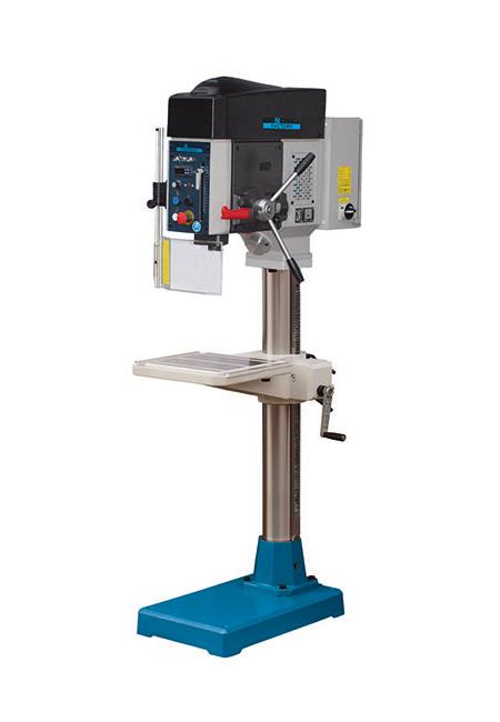 Taladro y roscadora de columna redonda con avance automático y transmisión por correas Factory Iberdrill IZA 35 fabricado por el Grupo Erlo