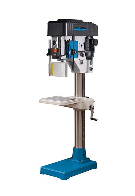 Taladro y roscadora de columna redonda con avance automático y transmisión mecánica por variador de poleas cónicas Factory Iberdrill IZA 40 fabricado por el Grupo Erlo