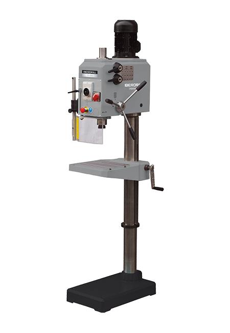 Taladro y roscadora de columna redonda con avance manual y transmisión por engranes Iberdrill Professional IX 32 fabricado por el Grupo Erlo