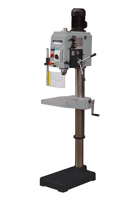 Taladro y roscadora de columna redonda con avance manual y transmisión por engranes Iberdrill Professional IXA 32 fabricado por el Grupo Erlo