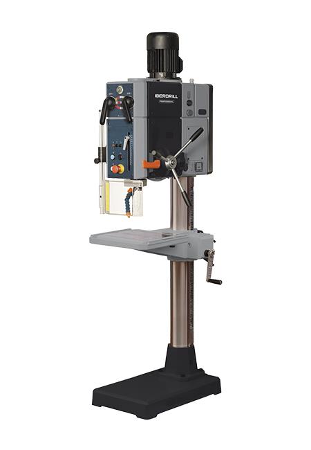 Taladro y roscadora de columna redonda con avance automático y transmisión por engranes Iberdrill Professional IXA 40 fabricado por el Grupo Erlo
