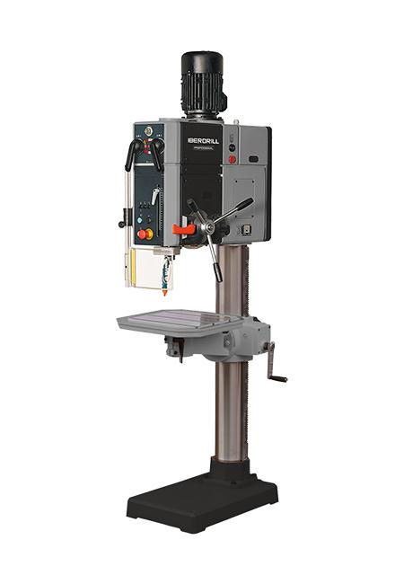 Taladro y roscadora de columna redonda con avance automático y transmisión por engranes Iberdrill Professional IXA 50 fabricado por el Grupo Erlo