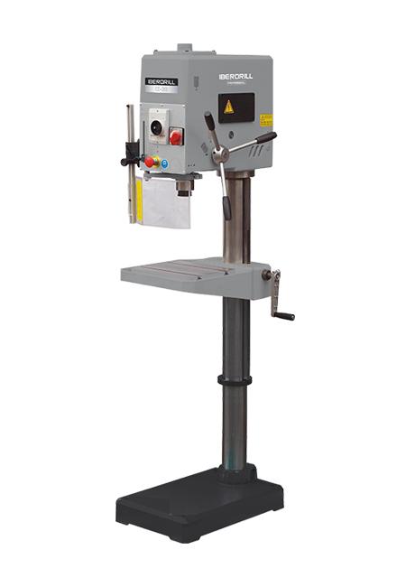 Taladro y roscadora de columna redonda con avance manual y transmisión por correas Iberdrill Professional IZ 32 fabricado por el Grupo Erlo