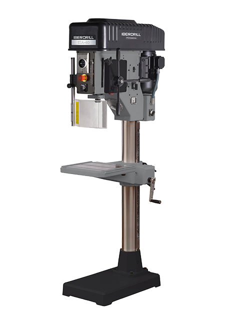 Round column drilling and tapping machine with automatic feed and mechanical conical pulley variator transmission, Iberdrill Professional IZ 40 manufactured by ERLO Group