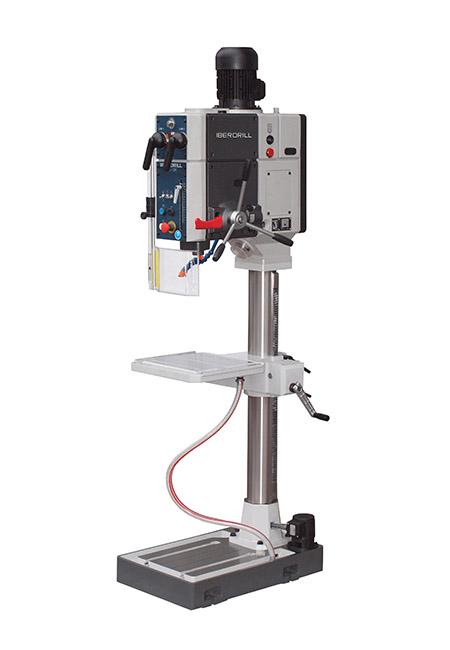 Von Iberdrill hergestellte Bohr- und Gewindeschneidmaschine mit mechanischem, automatischen Vorschub und Zahnradantrieb der Serie AX mit einer Bohrleistung von 34 mm