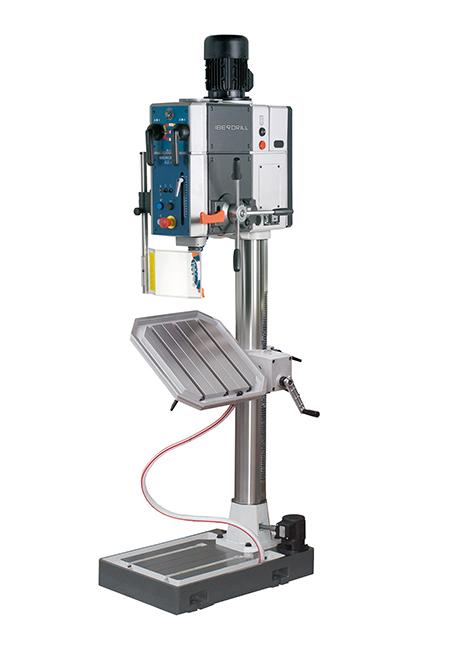 Von Iberdrill hergestellte Bohr- und Gewindeschneidmaschine mit mechanischem, automatischen Vorschub und Riemenantrieb der Serie AX mit einer Bohrleistung von 40 mm